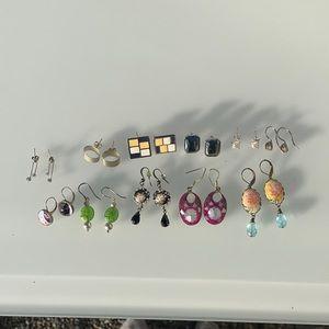Bundle of silver earrings and vintage earrings